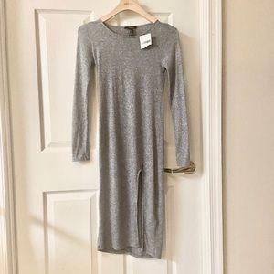 NWT heather Grey knit dress with slit size S